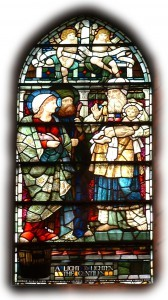 """The Presentation of Christ in the Temple"", one of seven windows in St Chad's commissioned by the 7th Earl of Sefton and designed and made by William Morris &"