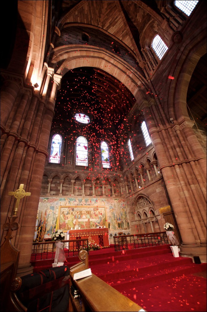 7000 petals scattered in St. Chad's to commemorate Remembrance Sunday.